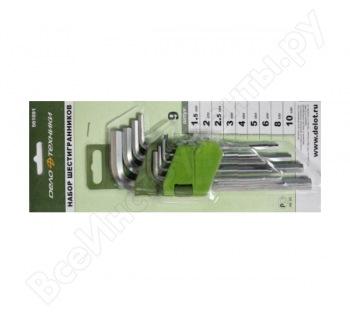 Набор ключей шестигр. 9 шт (1.5,2,2.5,3,4,5,6,8,10 мм) Дело Техники 561091