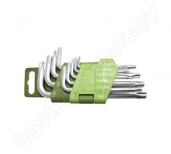 Набор ключей TORX  9 шт коротких  (Т10,Т15,Т20,Т25,Т27,Т30,Т40,Т45,Т50) Дело Техники 563090